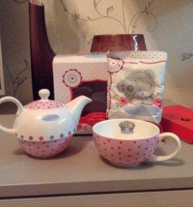 Чайник+чашка+чай ( Мишка теди)