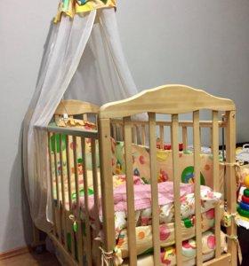 🍁ВЫГОДНО детская кроватка+матрас+бортик +балдахин