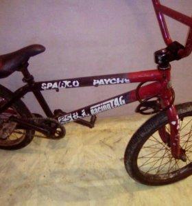 Велосипед BMX красный-чёрный цвет в хорошем состоя