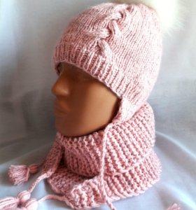 Комплект: шапка,бактус для девочки