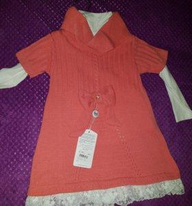 Вязаное платье с водолазкой