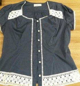 Блузка размер 48 с кружевом летняя