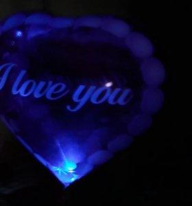 Светящиеся фольгированные шары сердечки