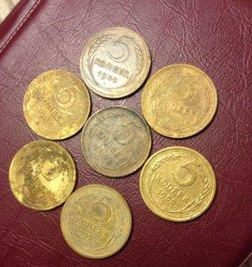 Набор монет пятаки СССР