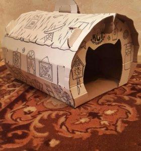 Домик для кошки картонный