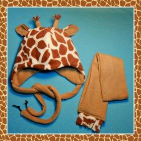 """Детская шапка и шарф """"Жирафик"""", новые"""