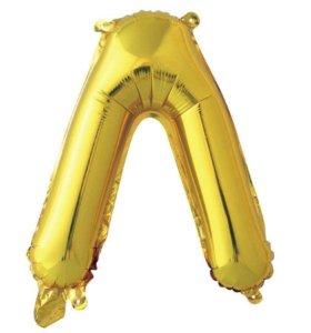 Воздушный шар буква Л золотая высота 41 см фольга