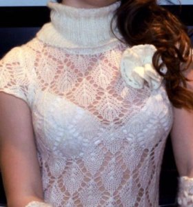 Вязаный ажурный тёплый свитер с митенками 42-44 р.