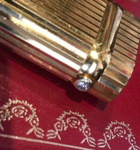 Зажигалка Cartier позолоченная с бриллиантом