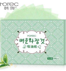 Матирующие салфетки с зелёным чаем Rorec, 100 шт
