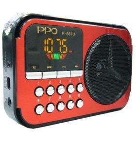 Радиоприёмник (Цв.дисплей, USB, microSD, FM)