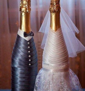 Бокалы бутылки украшения на свадьбу праздник