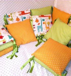 Новые бортики подушки в кроватку