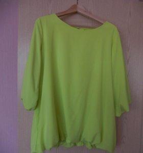 блузка ярко салатового цвета р-р 50-52