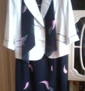 платье с пиджаком и шарфиком, р.52-54