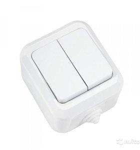 Makel Выключатель двухклавишный белый брызгозащище