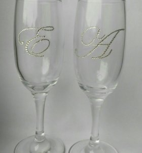 Свадебные бокалы из страз под заказ
