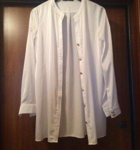 Блузка с поясом белая шолковая