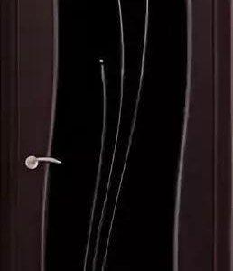 Дверь шпон, со стеклом триплекс и стразами