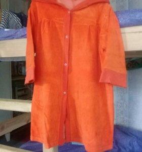 Велюровый мягкий халат оранжевый с капюшоном