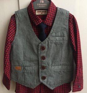Рубашка, жилетка и галстук Next 2-3года