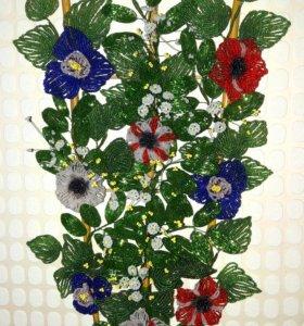 Цветы , деревья и пано из бисера и бусен