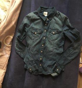джинсовая рубашка h&m