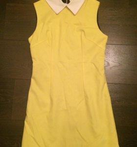 Новое желтое платье с воротничком