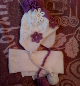 Шапка+шарф зимняя.Новая!!!