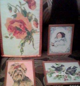 Продам картины- вышивки крестиком, ручная работа