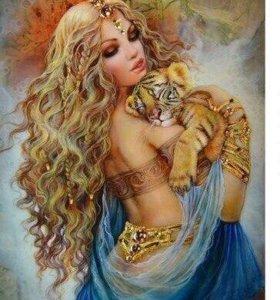 Картина по номерам - девушка с тигренком/ с совой