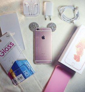 iPhone 6 S (rose gold) 16gb в подарок чехлы,стекло