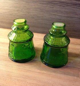 Солонка перечница для кухни зеленое стекло
