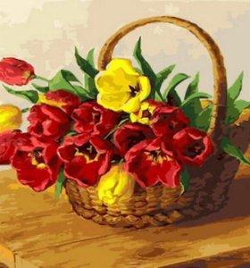 Картина раскраска по номерам - Корзина тюльпанов