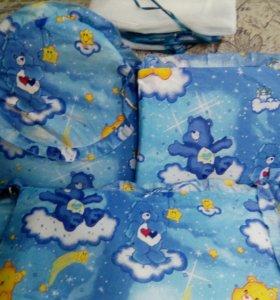Бортики+ балдахин+ одеяла подушка