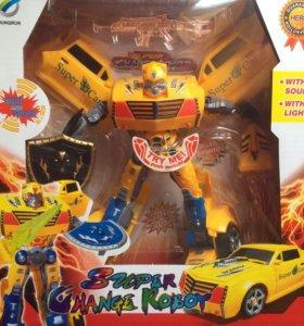 Робот, динозавр и пожарная машина