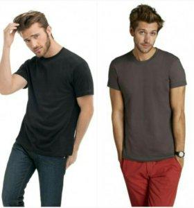 Серая и черная однотонные футболки, 44 размер