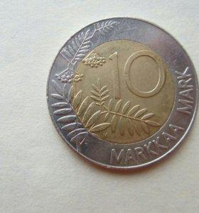 монета Финляндии, 10 марок 1993 года, тетерев
