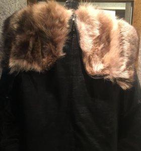 Зимняя мужская куртка с мехом волка