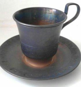 Мельхиоровпя кофейная пара