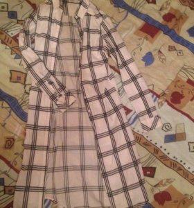 Рубашка-платье длинная в клетку