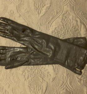 Перчатки женские кожаные удлиненные