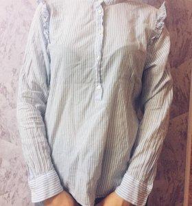Рубашка Н&М голубая в полоску