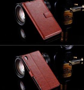 Чехол-книжка для Sony Xperia Z3. Кожаный. Новый
