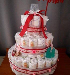 Тортики из памперсов, съедобные букеты на заказ