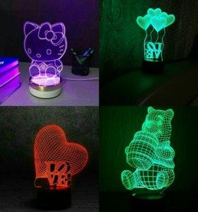 Продаем 3D ночники,светильники(7цветов в одном).