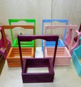 Деревянные ящики для цветов и подарков