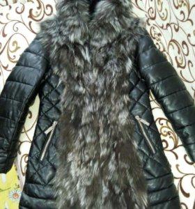 Куртка с мехом, пуховик женский эко-кожа