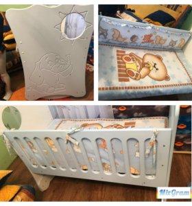 Детская кроватка+матрац+бортики
