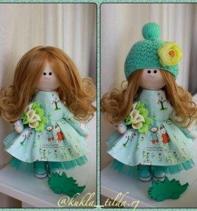 Интерьерная кукла.Снежка.Текстильная кукла.Тильда